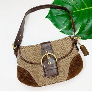 COACH Signature Bag Shoulder Suede Leather Hobo